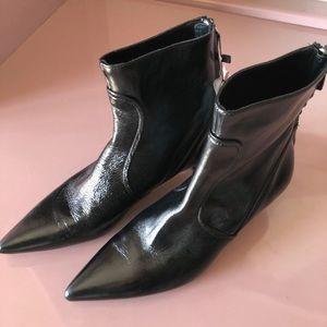 NWT Zara Kitten Heel Leather Boots